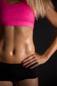 A waistline with balanced lower back and abdominal muscles